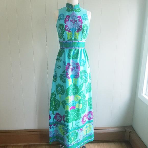 91c3b220e202a Vintage Dresses | 1970s Tori Richard Honolulu Multicolor Dress ...